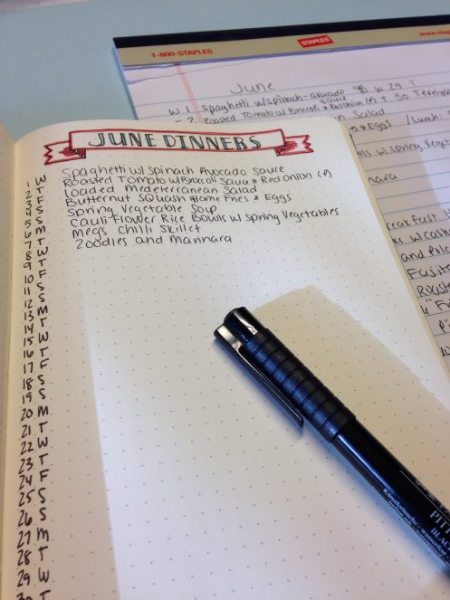 Monthly Meal Planning in My Bullet Journal