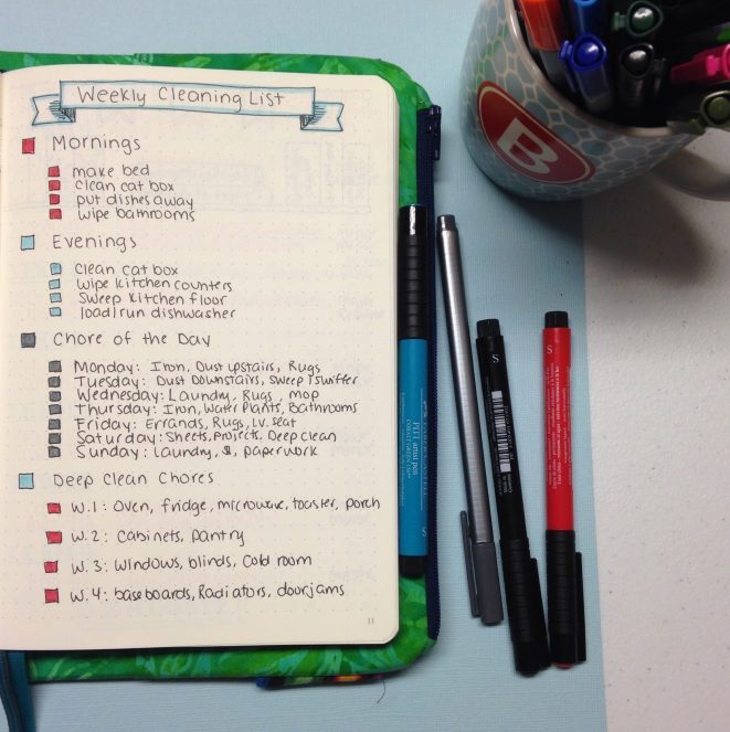 Weekly Cleaning: Planning in Your Bullet Journal