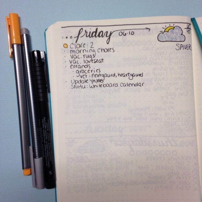 Weekly Cleaning: Organizing Your Schedule in Your Bullet Journal