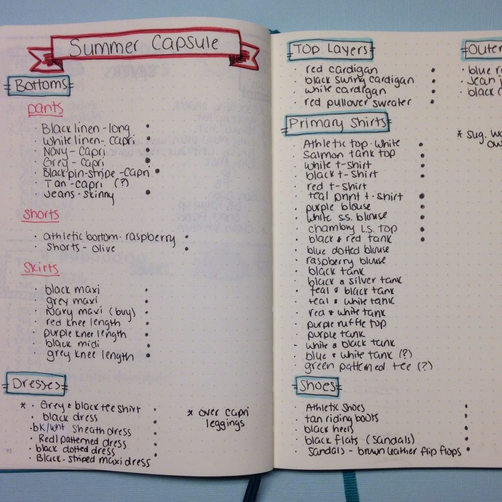 Organizing Your Capsule Wardrobe in a Bullet Journal