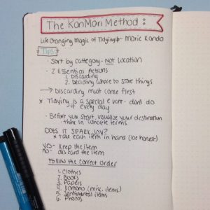 Life Changing Magic of Tidying Up Book Notes in a Bullet Journal