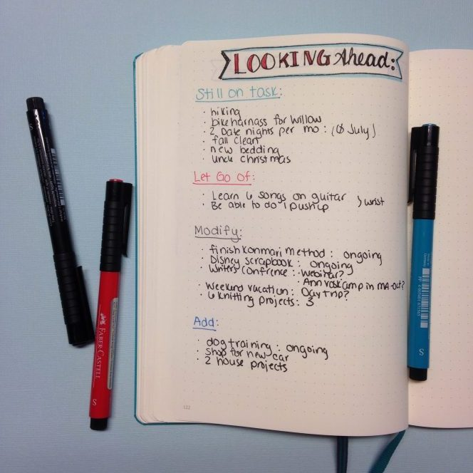 Mid-Year Review: Looking Ahead Layout in a Bullet Journal